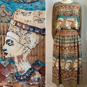 Vintage Nefertiti Midi Skirt Set